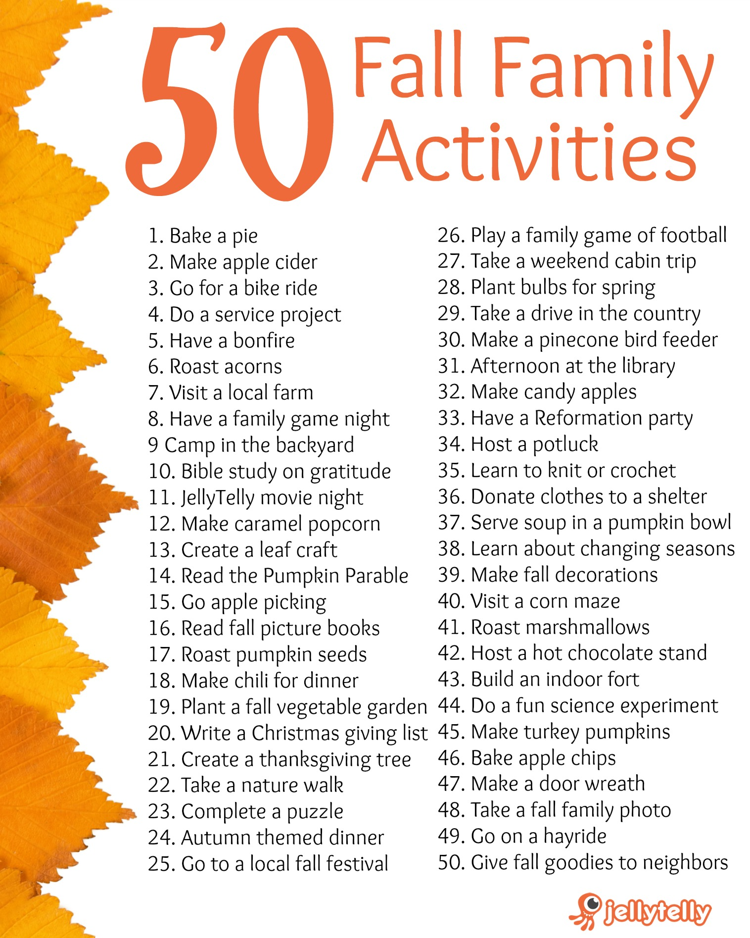 50 Fall Family Activities (+ Free Printable!) | Jellytelly Parents
